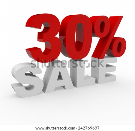 3d render 30 percent off on a white background.