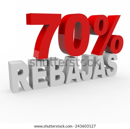3d render 70 percent off with the word Rebajas (Sale in Spanish) on a white background.