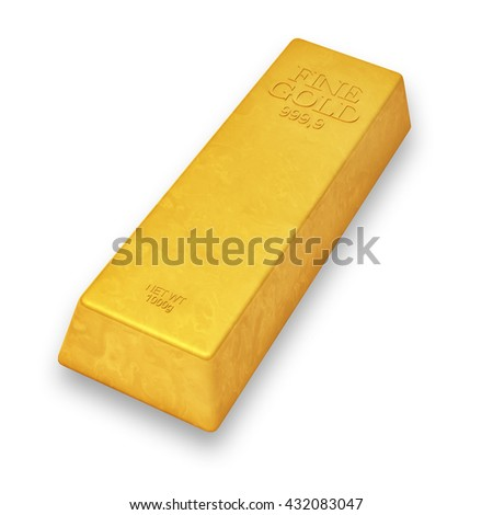 3d render - shiny gold bar isolated over white background