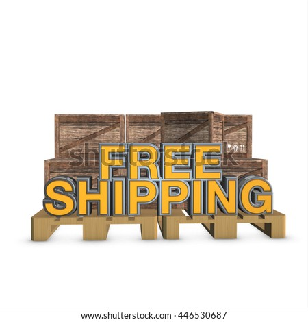 3D render wooden packettes on the pallet. free shipping text and white background.