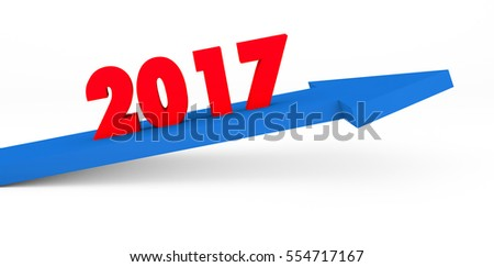 3d render year 2017 success concept with a growing blue arrow on a white background.
