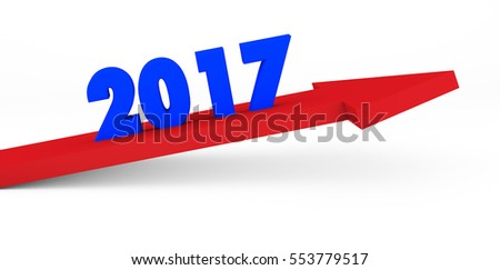 3d render year 2017 success concept with a growing red arrow on a white background.