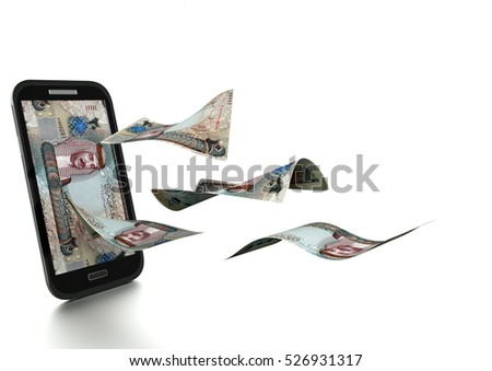 3D Rendered Bahrain money tilted and isolated on white background