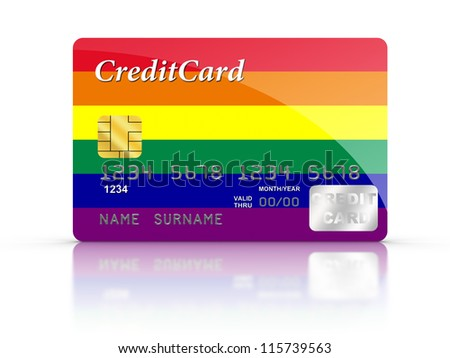 3D rendered Credit Card covered with  Rainbow flag.
