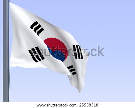 3d rendered flag in wind, series