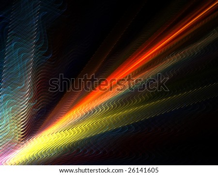 3D rendered fractal: wavy multicolor abstract background.