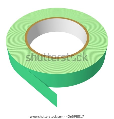 3D Rendered green painter's tape perfect for an icon or clip art. Isolated on a white background.
