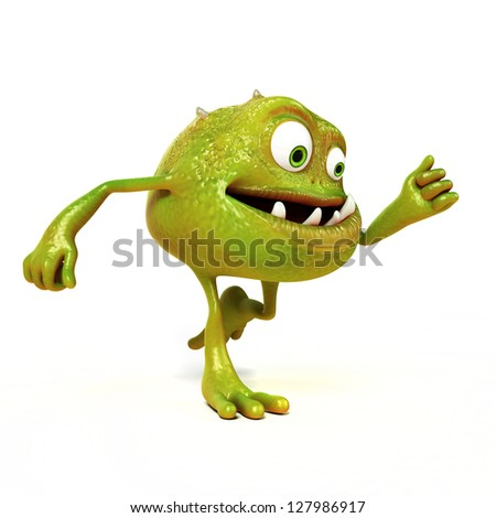 3d rendered illustration of a funny bacteria toon stock photo