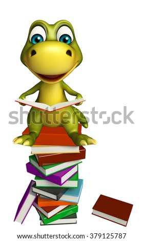 3d rendered illustration of Dinosaur cartoon character with book stack