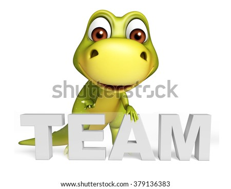 3d rendered illustration of Dinosaur cartoon character with team sign