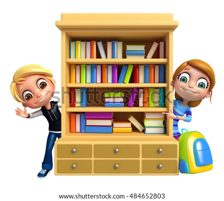 3d rendered illustration of Kid boy and girl with book shelves