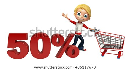 3d rendered illustration of kid boy with 50% sign & trolley