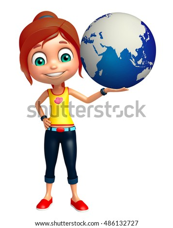 3d rendered illustration of kid girl with Earth