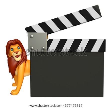 3d rendered illustration of Lion cartoon character with clapboard