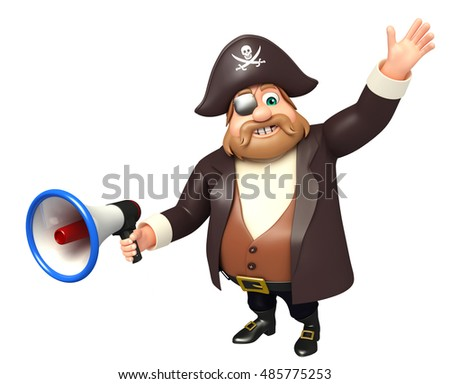3d rendered illustration of Pirate with Loud speaker
