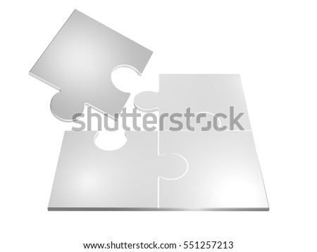 3D Rendered Illustration of puzzle pieces isolated over white background.