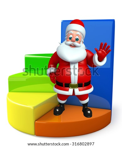 3d rendered illustration of santa claus with business graph