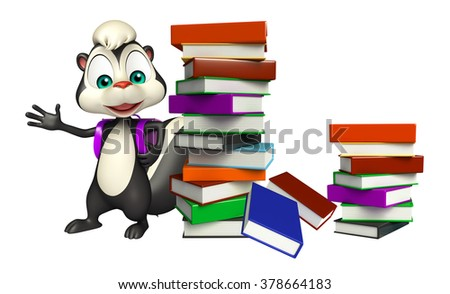 3d rendered illustration of Skunk cartoon character with book and school bag