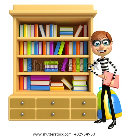 3d rendered illustration of Thief with Book shelves & book