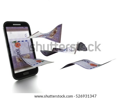 3D Rendered Malaysia money tilted and isolated on white background