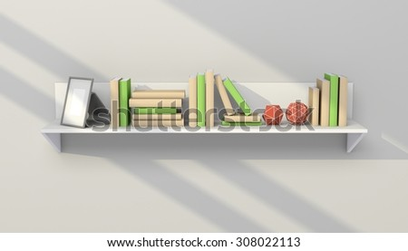 3d rendered modern interior composition with simple bookshelf.
