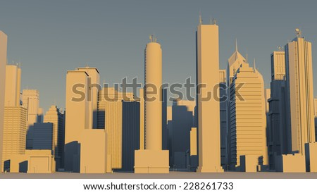 3d rendered morning of city made of skyscrapers