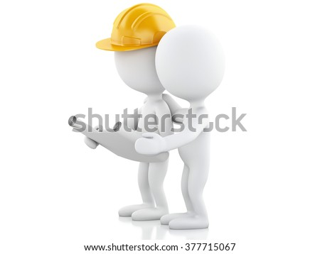 3d renderer image. Architect people with helmet and drawings. Construction concept. Isolated white background