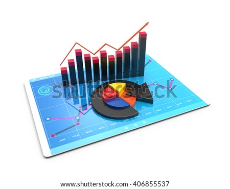 3D Rendering Analysis Financial Data Charts Stock Illustration