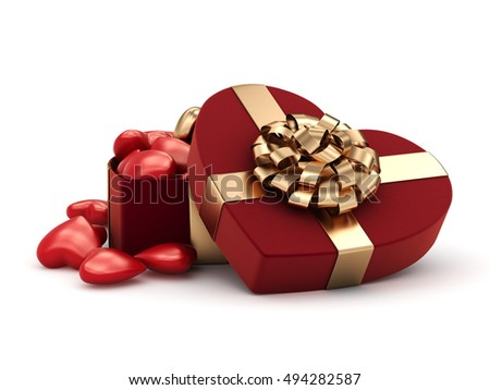 3D rendering box in heart shape, 3D illustration