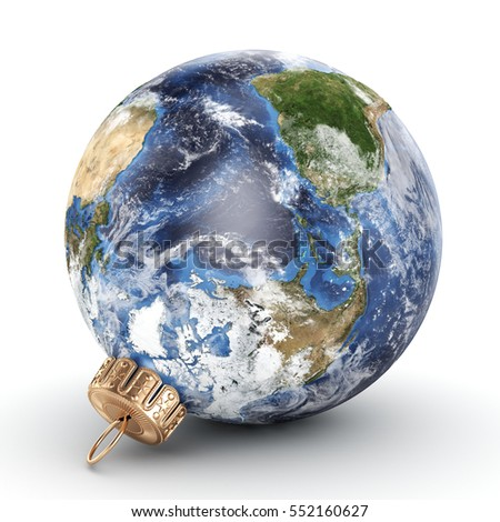 3D rendering Christmas ball Planet Earth, 3D illustration
