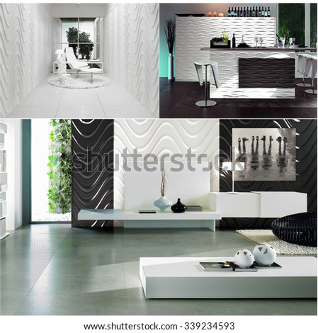 3d rendering collage of three contemporary monochrome minimalistic interiors