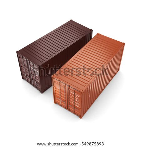 3D rendering containers, 3D illustration