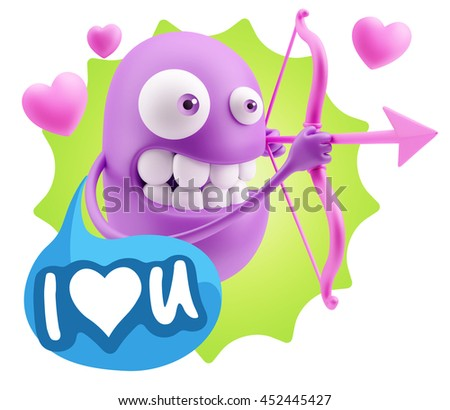 3d Rendering. Cupid Emoticon Face saying I Love U with Colorful Speech Bubble.