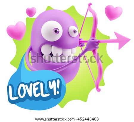 3d Rendering. Cupid Emoticon Face saying Lovely with Colorful Speech Bubble.