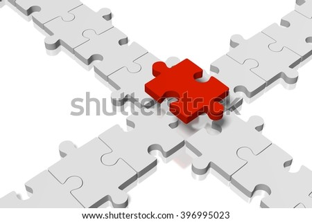 3D rendering/ 3D illustration - puzzle concept - missing part concept.