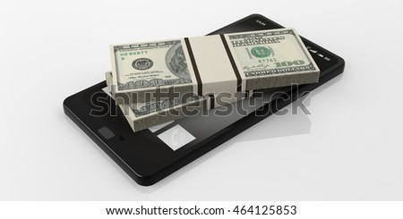 3d rendering 100 dollar banknotes stack on a black smartphone