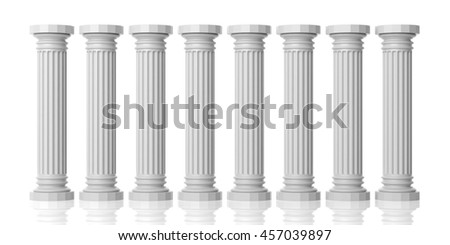 3d rendering eight white marble pillars on white background