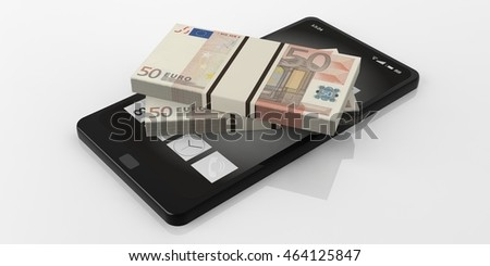 3d rendering 50 euro banknotes stacks on a smartphone, white background