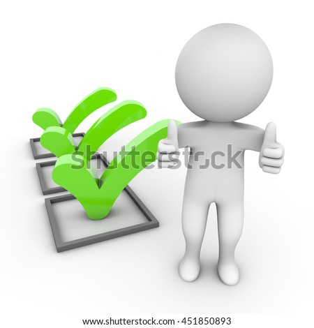 3d Rendering Human Character with three check marks