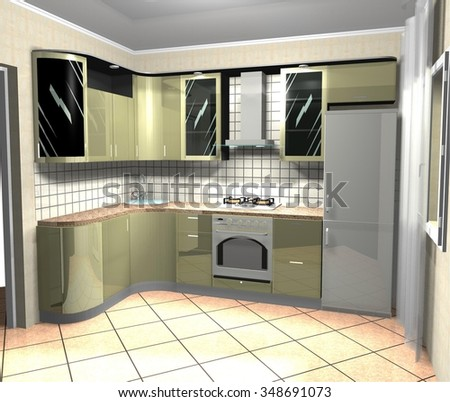 3D rendering illustration  interior design green kitchen