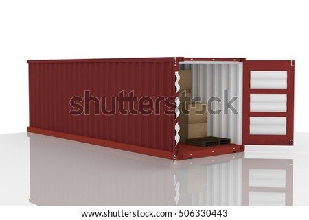 3D rendering : illustration of open red container with cardboard boxes inside the container.business export import concept.white isolate background.clipping path included