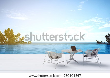 3D Rendering : Illustration Top View Of A Beach Patio Outdoor. Sun Loungers  On Private