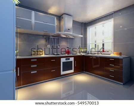 3d rendering kitchen room