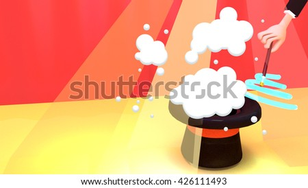 3d rendering magician hand holding magic wand making fantasy spell. Toon explosion and smoke fx.