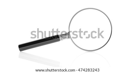 3d rendering magnifier glass on white background