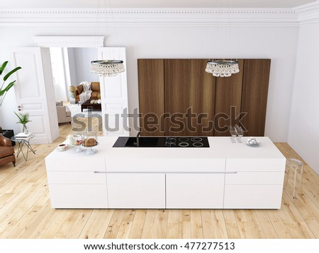 living room drawers. Modern loft with a kitchen and living room  Interior Living Room Wooden Chest Stock Illustration