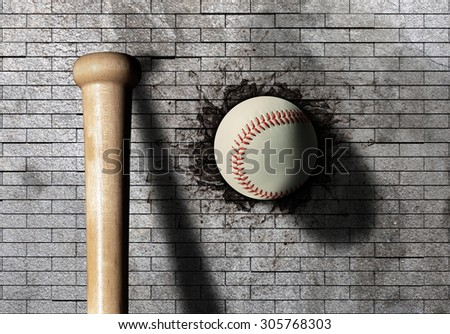 3d rendering of a baseball ball embedded in a stone wall