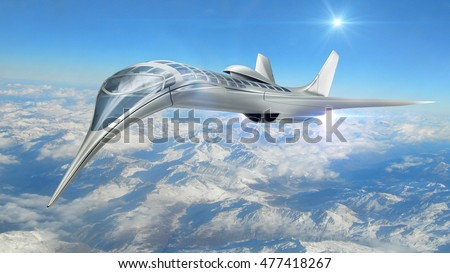 3D Rendering of a futuristic airplane flying above clouds, for science fiction or military aircraft backgrounds. All elements of this image owned by 3000ad.