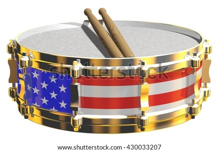 3D rendering of a gleaming snare drum with US flag design, isolated on white