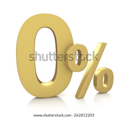 3D rendering of a 0 percent in gold letters on a white background